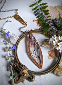 Relic Fairy Wing Rosary Necklace - Resin and Copper Electroformed 1