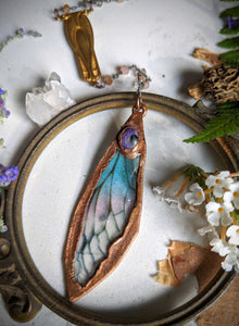 Relic Fairy Wing Rosary Necklace - Resin and Copper Electroformed 3