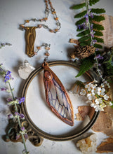 Load image into Gallery viewer, Relic Fairy Wing Rosary Necklace - Resin and Copper Electroformed 5