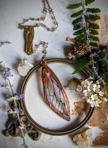 Relic Fairy Wing Rosary Necklace - Resin and Copper Electroformed 5