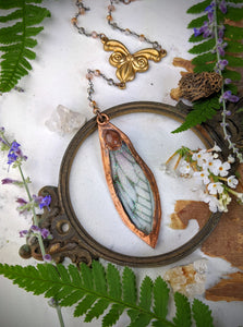 Relic Fairy Wing Rosary Necklace - Resin and Copper Electroformed 8