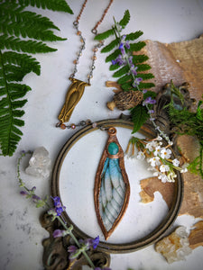 Relic Fairy Wing Rosary Necklace - Resin and Copper Electroformed 16
