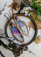 Load image into Gallery viewer, Relic Fairy Wing Earrings - Resin and Copper Electroformed 2
