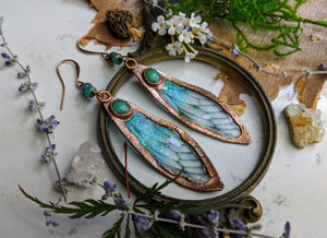 Relic Fairy Wing Earrings - Resin and Copper Electroformed 7