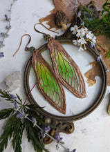 Load image into Gallery viewer, Carnival Row Fairy Wing Copper Electroformed Earrings - 9
