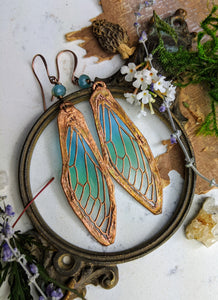 Carnival Row Fairy Wing Copper Electroformed Earrings - 14