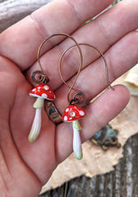 Load image into Gallery viewer, Red Amanita Mushroom Earrings with Swarovski Crystals