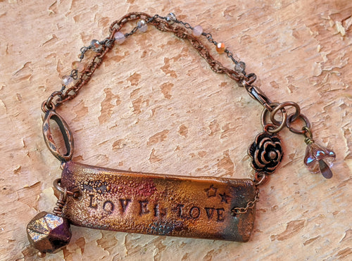 Wrist Reminder Copper Electroformed Bracelet - LOVE IS LOVE