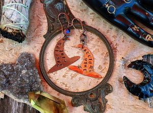 'Accio Wine' Witch Hat Copper Earrings