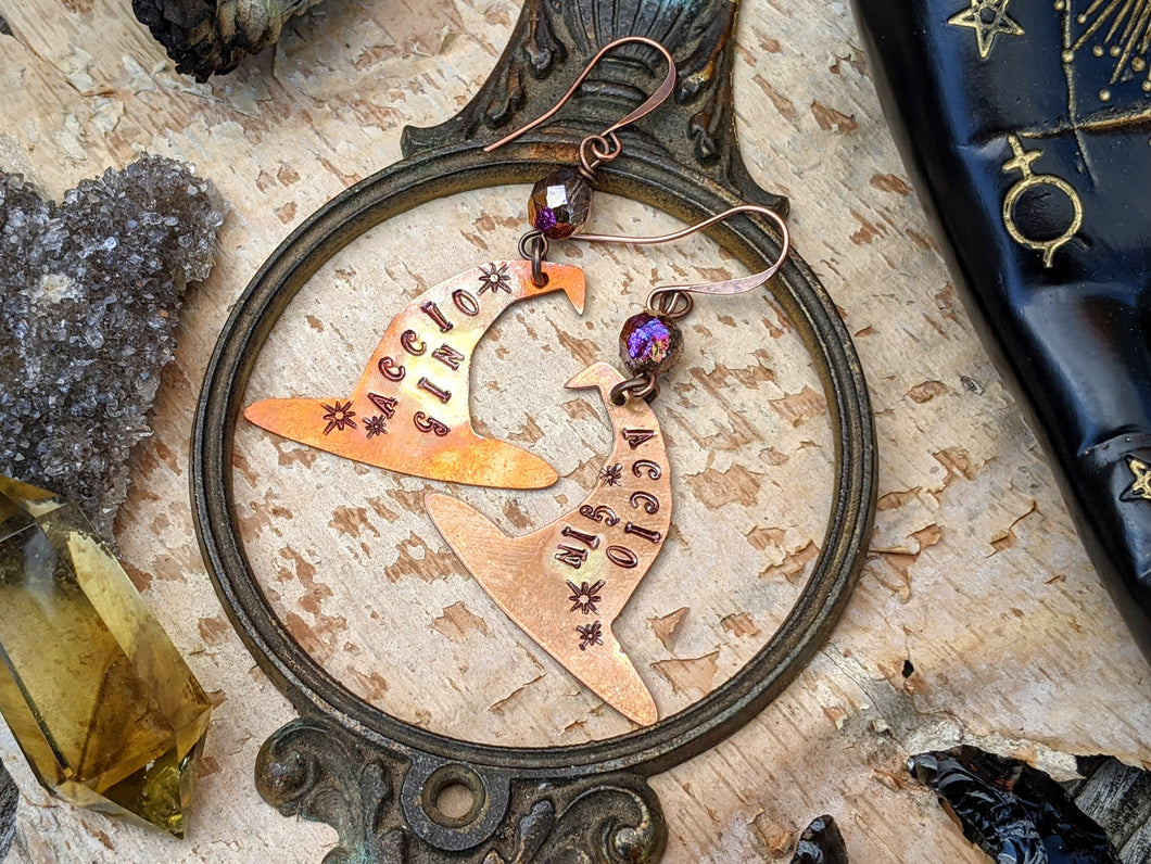 'Accio Gin' Witch Hat Copper Earrings