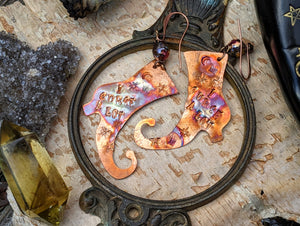 'I Curse A Lot' Witch Boot Copper Earrings