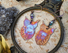 Load image into Gallery viewer, Copper Trick or Treat Owl Omen Earrings #1