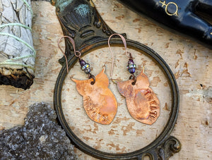 Copper Trick or Treat Owl Omen Earrings #2