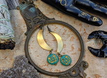 Load image into Gallery viewer, Jack O' Lantern Moon Earrings - Turquoise