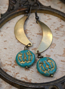 Jack O' Lantern Moon Earrings - Turquoise