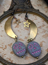 Load image into Gallery viewer, Sugar Skull & Moon Earrings - Grey/Pink