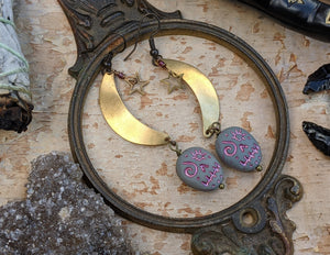 Sugar Skull & Moon Earrings - Grey/Pink