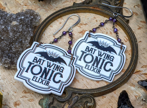 'Bat Wing Tonic Elixir' Spell Label Earrings