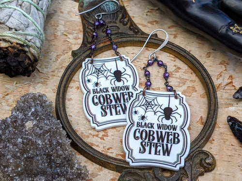 'Black Widow Cobweb Stew' Spell Label Earrings