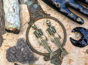 Brass Skeleton Mermaid Earrings