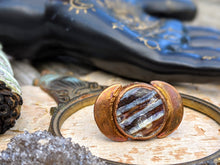 Load image into Gallery viewer, Copper Electroformed Fossilized Mammoth Tooth and Moons Ring - Size 10.5