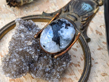 Load image into Gallery viewer, Copper Electroformed Tourmalinated Moonstone and Moons Ring - Size 7.75