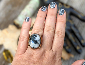 Copper Electroformed Tourmalinated Moonstone and Moons Ring - Size 7.75