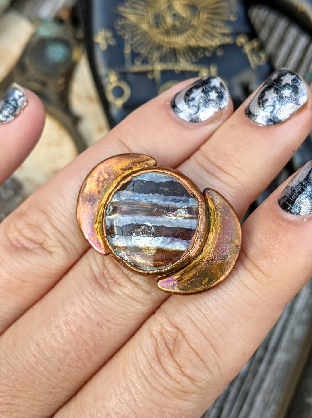 Copper Electroformed Fossilized Mammoth Tooth and Moons Ring - Size 10.5