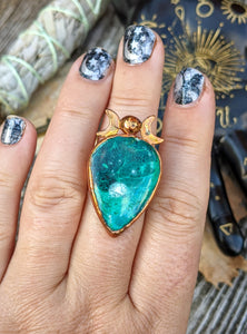Copper Electroformed Chrysocolla and Moons Ring - Size 10