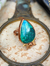 Load image into Gallery viewer, Copper Electroformed Chrysocolla and Moons Ring - Size 10