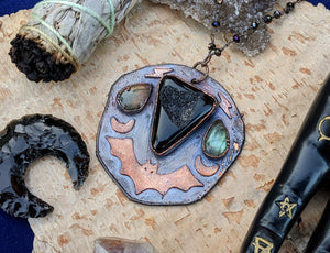 'Darkness Falls' Copper Electroformed Halloween Statement Necklace