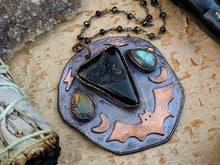Load image into Gallery viewer, 'Darkness Falls' Copper Electroformed Halloween Statement Necklace