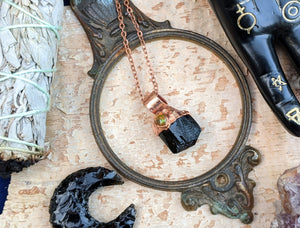 Black Tourmaline and Welo Opal Copper Electroformed Necklace #2