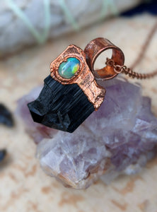 Black Tourmaline and Welo Opal Copper Electroformed Necklace #3