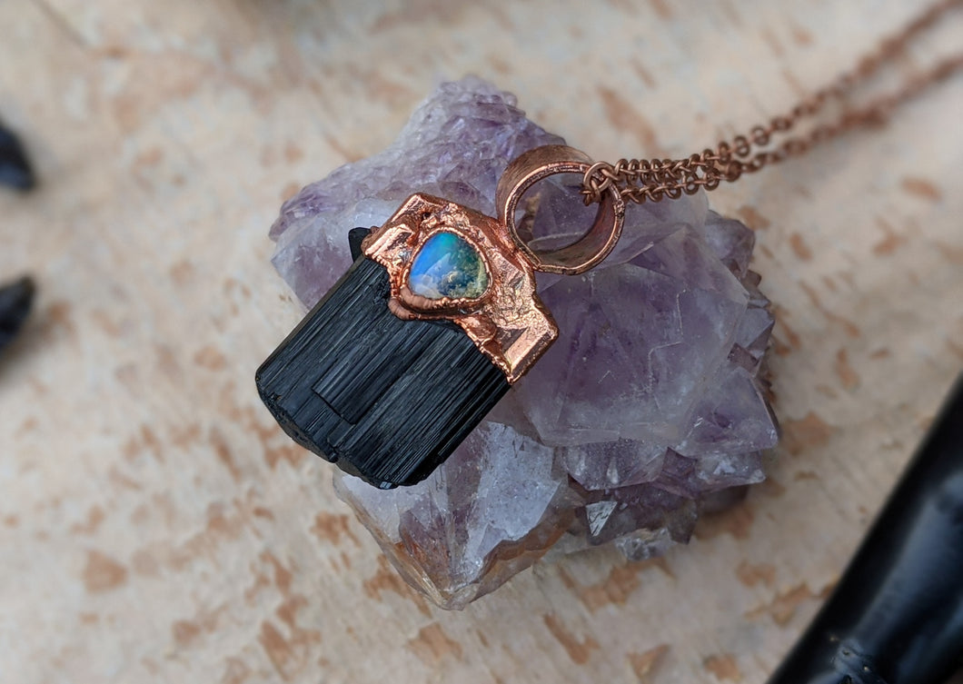 Black Tourmaline and Welo Opal Copper Electroformed Necklace #4