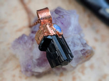 Load image into Gallery viewer, Black Tourmaline and Welo Opal Copper Electroformed Necklace #4