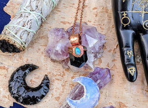 Black Tourmaline and Welo Opal Copper Electroformed Necklace #5