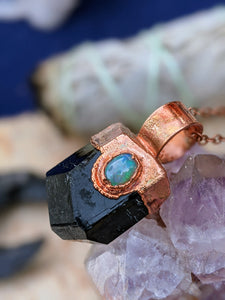 Black Tourmaline and Welo Opal Copper Electroformed Necklace #6