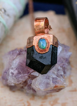 Load image into Gallery viewer, Black Tourmaline and Welo Opal Copper Electroformed Necklace #6