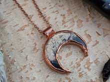 Load image into Gallery viewer, Fossilized Palm Root Moon Electroformed Necklace