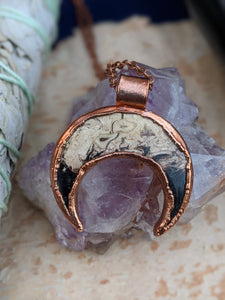 Fossilized Palm Root Moon Electroformed Necklace