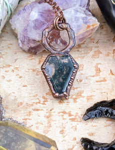 Moss Agate Coffin Electroformed Necklace 2