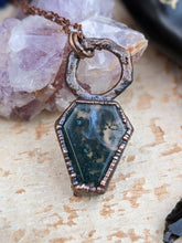 Load image into Gallery viewer, Moss Agate Coffin Electroformed Necklace 2