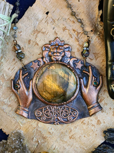 Copper Electroformed Fortune Teller Necklace - 1