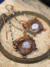 Load image into Gallery viewer, Moonstone Witch's Cauldrons Copper Electroformed Earrings