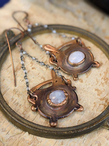 Moonstone Witch's Cauldrons Copper Electroformed Earrings