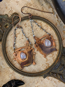 Moonstone Teardrop Witch's Cauldrons Copper Electroformed Earrings
