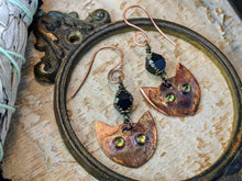 Load image into Gallery viewer, Peridot Cat Eye Witch's Familiar Copper Electroformed Earrings