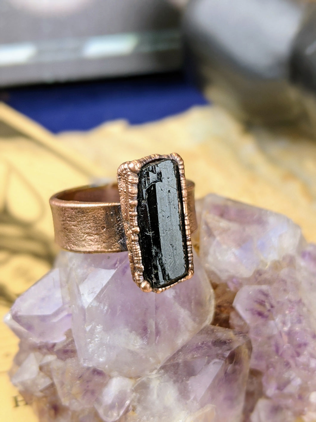 Copper Electroformed Black Tourmaline Ring - Size 9