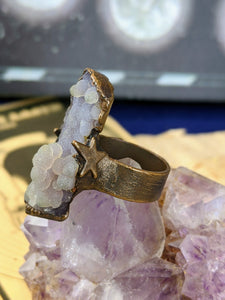 Copper Electroformed Grape Agate Bubbling Ring - Size 6.5